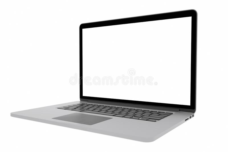 Laptop with blank screen isolated on white background, 3d rendering stock illustration