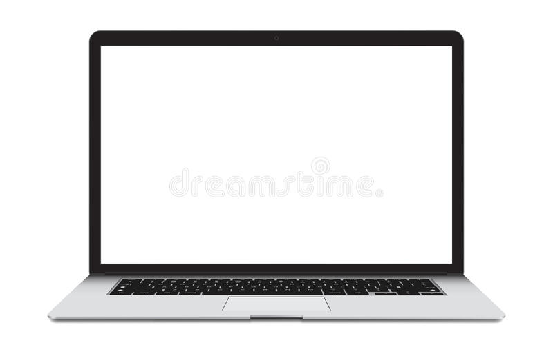 Laptop with blank screen isolated on white. vector illustration