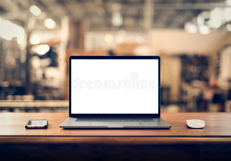 Laptop with blank screen. On table royalty free stock photos