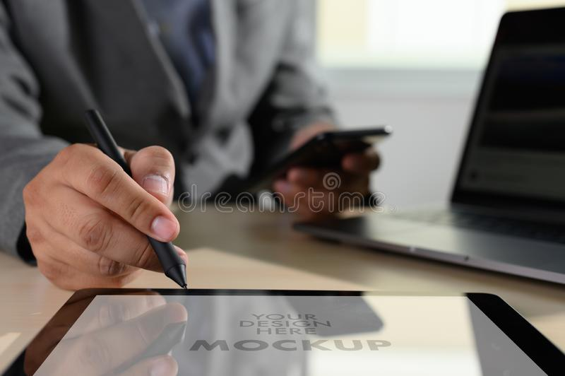 Laptop with blank screen on table. Workspace background new project on laptop computer with blank copy space screen for your. Advertising text message d stock photo