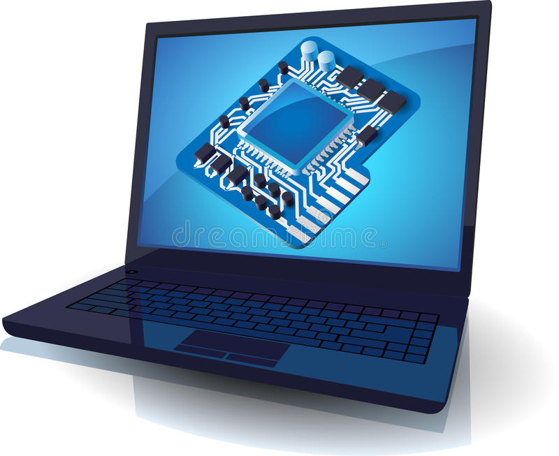 Laptop and blue chip set royalty free illustration