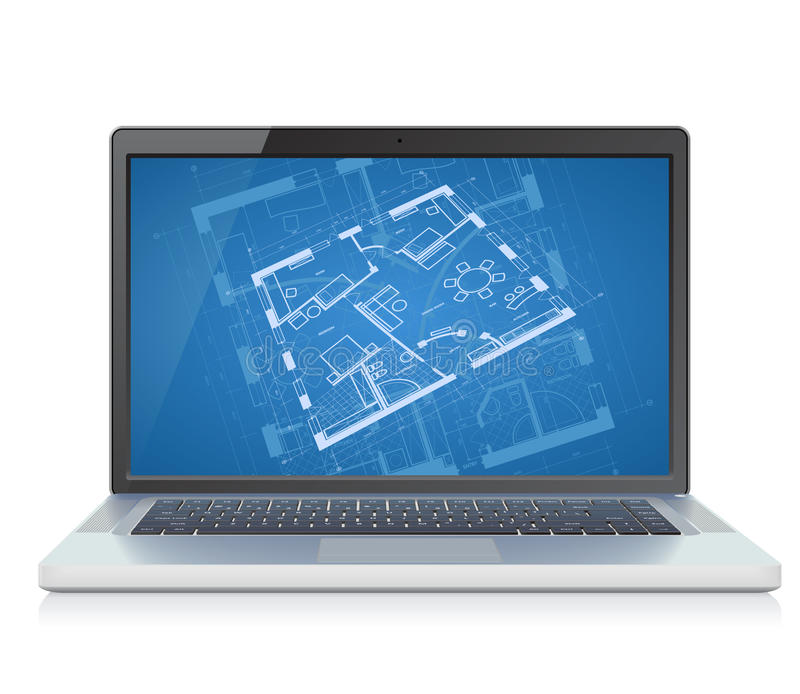 Download Laptop with blueprint stock vector. Image of concept - 21602916