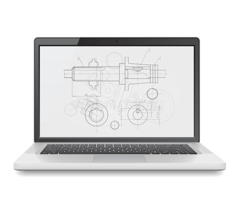 Download Laptop with blueprint stock vector. Image of blueprint - 21709947
