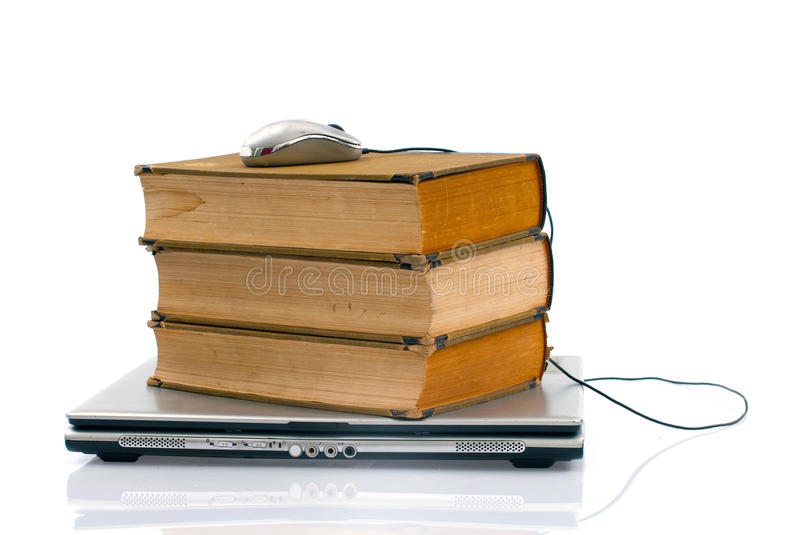 Laptop and books royalty free stock images
