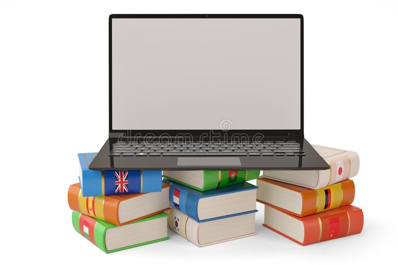The laptop and books languages learn and translate education con. Cept books in colors of national flags 3d illustration royalty free stock images
