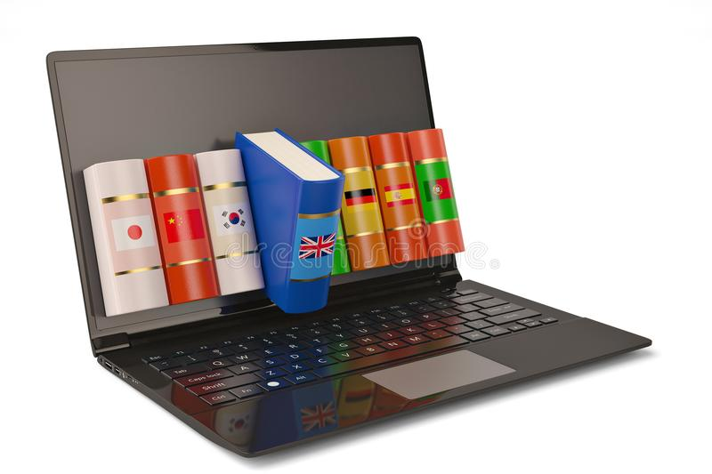 The laptop and books languages learn and translate education con. Cept books in colors of national flags 3d illustration stock image
