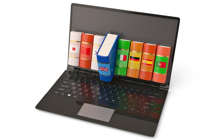 The laptop and books languages learn and translate education con. Cept books in colors of national flags 3d illustration stock photography