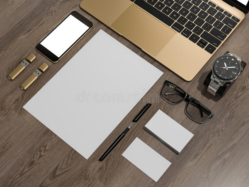 Laptop branding mockup smatrtfon, business cards. High resolution 3d vector illustration