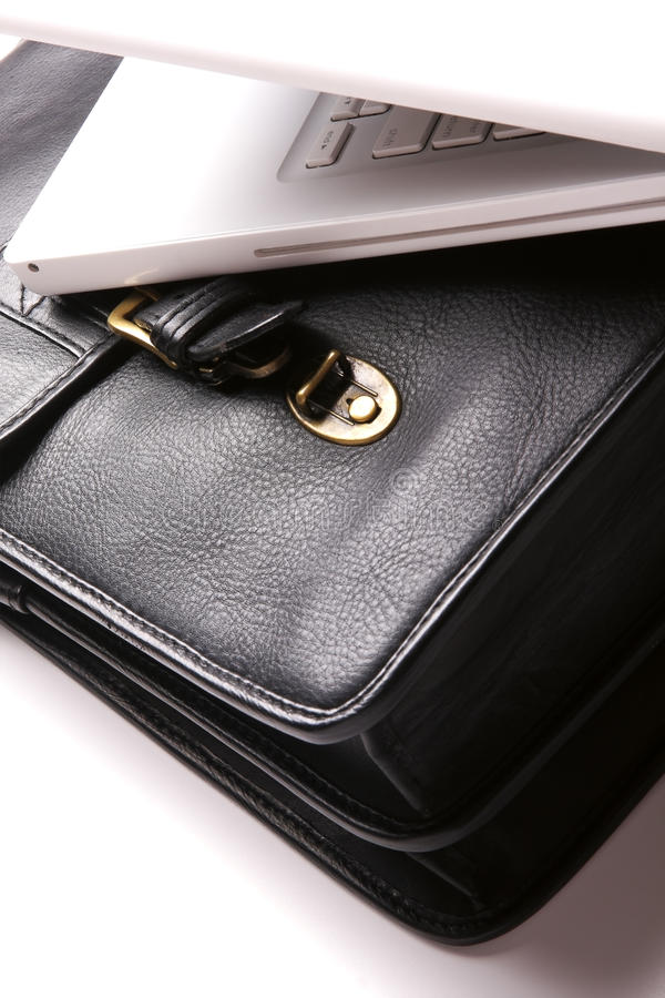 Laptop and brief-case. stock photography