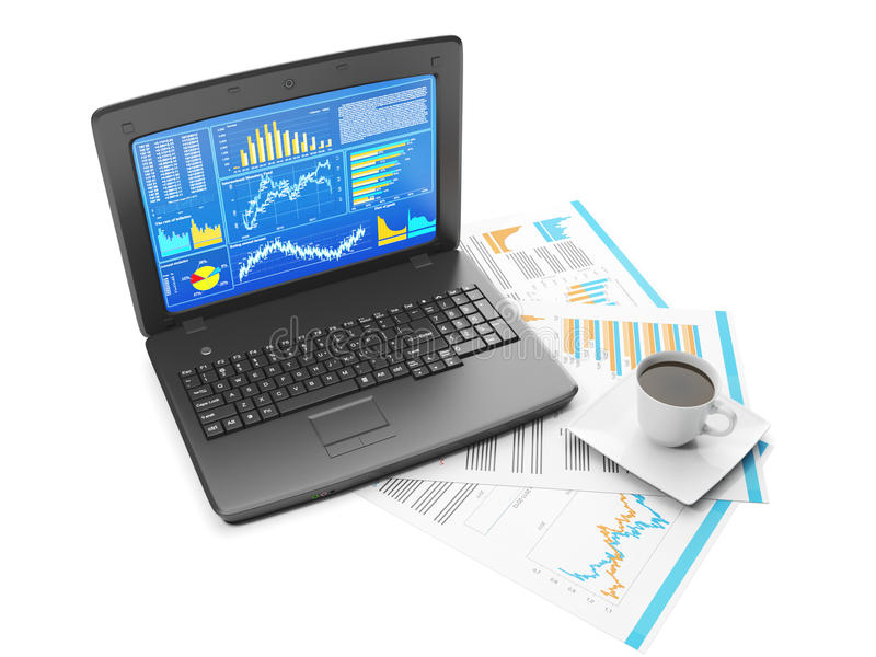 Laptop With Business Charts Stock Images