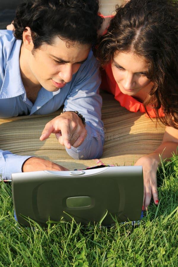 Laptop business couple stock photo