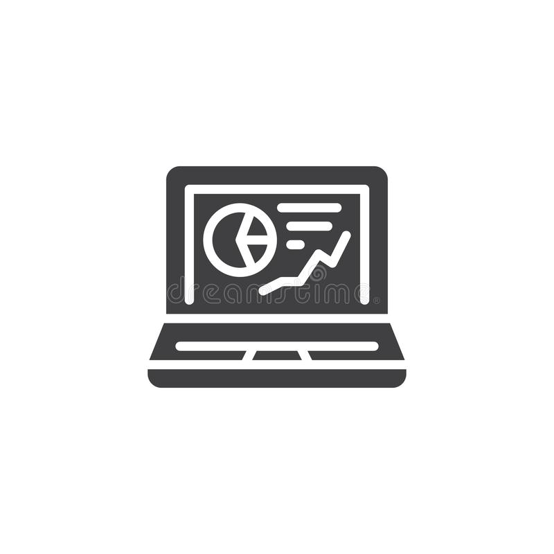 Laptop with business graph vector icon royalty free illustration