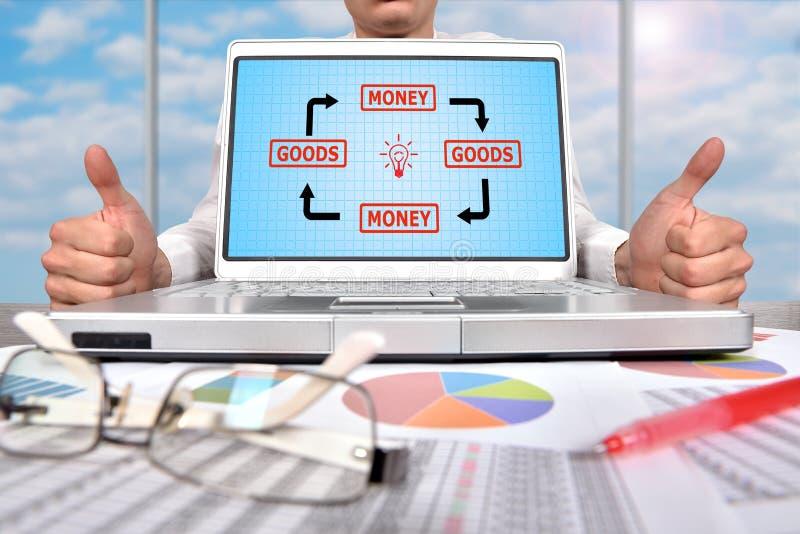 Laptop with business scheme. Businessman showing thumb up and laptop with business scheme stock images