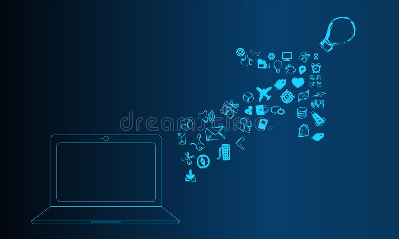 Laptop with  business skecth on screen. Blue  Business Concept. Business Sketch stock illustration
