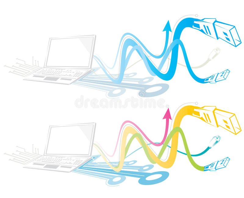 Laptop Cables. An illustration of colorful cables coming coming out from a laptop in wavy pattern stock illustration