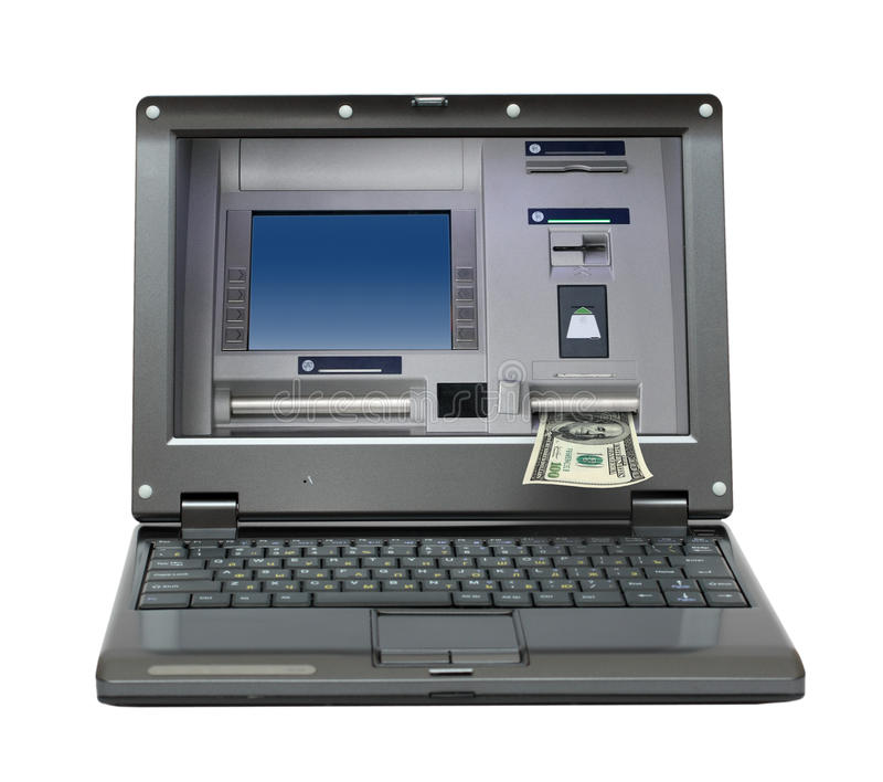 Laptop with cash dispense on screen. Small laptop with cash dispense on screen stock image