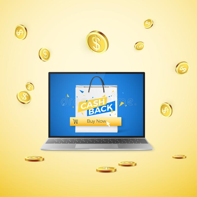 Laptop with Cashback banner on screen and button Buy Now and image of cart on it. Falling golden coins on yellow background. vector illustration
