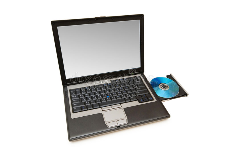 Laptop And Cd-drive Isolated Stock Photography