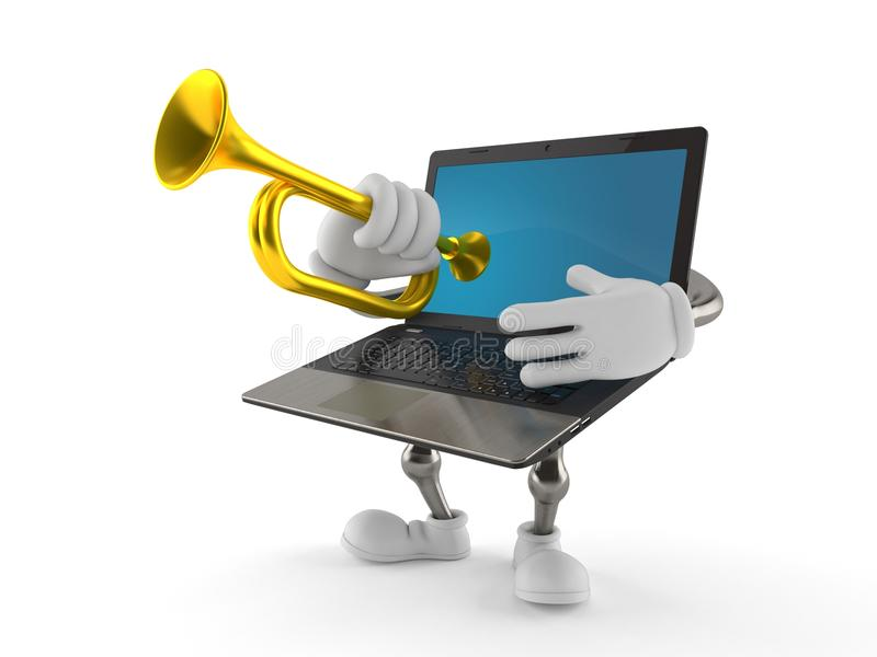 Laptop character playing the trumpet. On white background vector illustration
