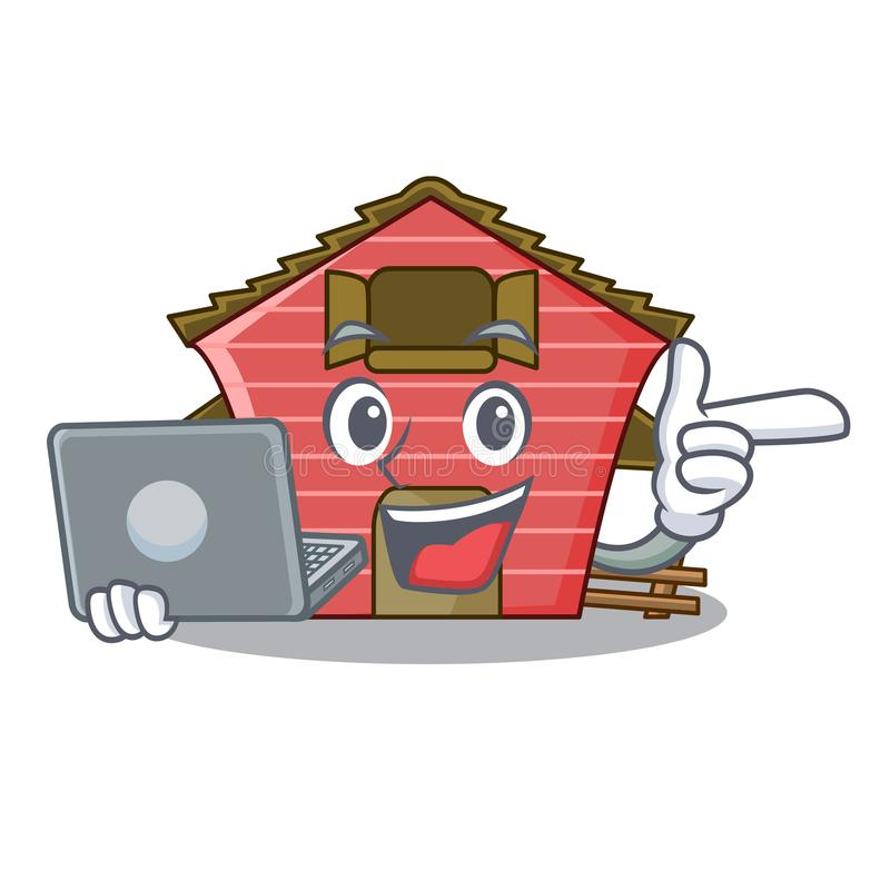 With laptop character red barn building with haystack. Vector illustration stock illustration