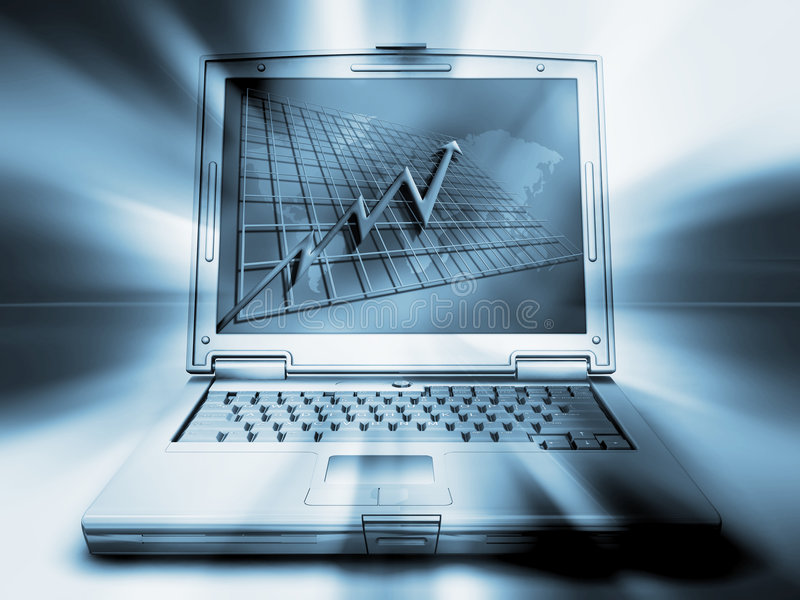 Laptop with chart stock illustration