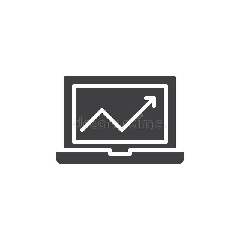 Laptop with chart icon vector, filled flat sign, solid pictogram isolated on white. stock illustration