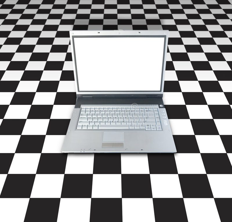 Download Laptop On Checker Board stock photo. Image of perspective - 1206298