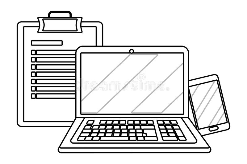 Laptop with checklist in black and white stock illustration
