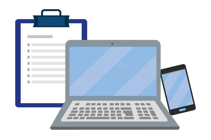 Laptop with checklist vector illustration stock illustration