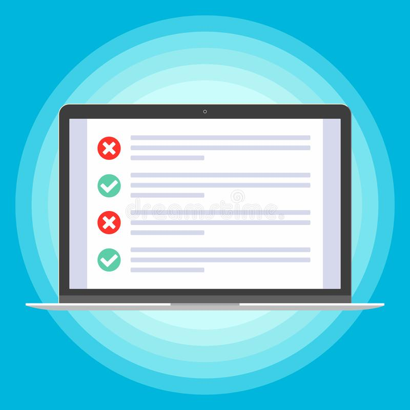 Laptop with checklist with check mark. Ticks and crosses on the screen. vector illustration