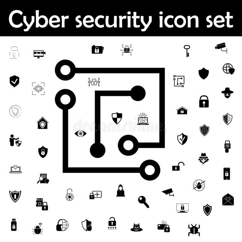 Laptop chip icon. Cyber security icons universal set for web and mobile. On white background royalty free illustration