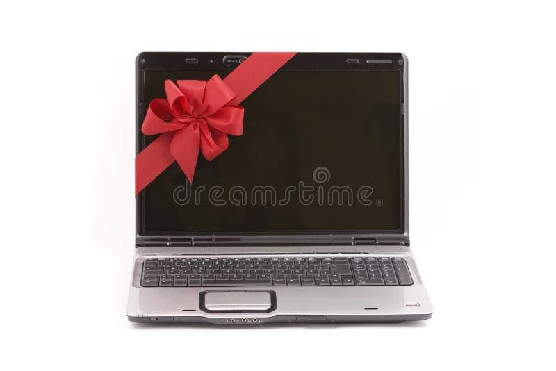 Laptop Christmas Present royalty free stock photo