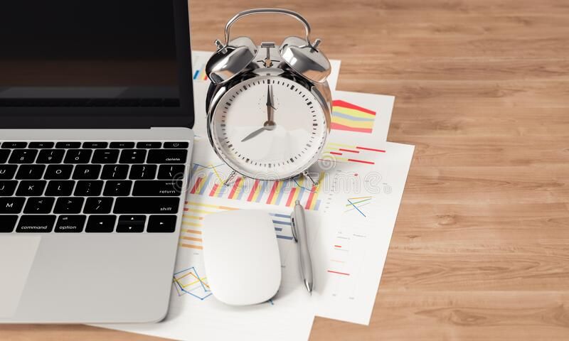 Laptop, clock, paper chart and other devices on wood office desk, 3D rendering vector illustration