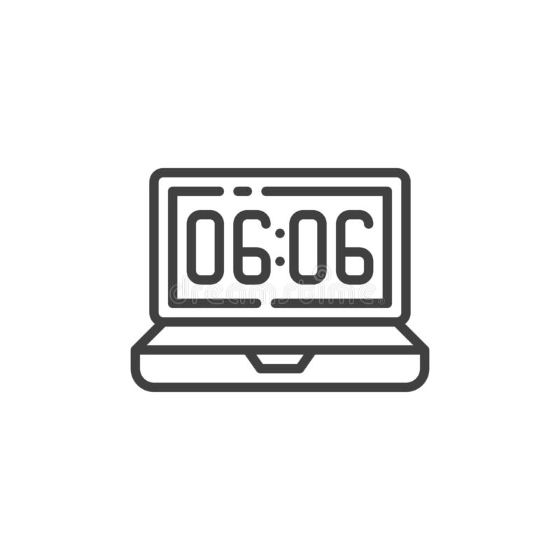 Laptop clock time line icon vector illustration