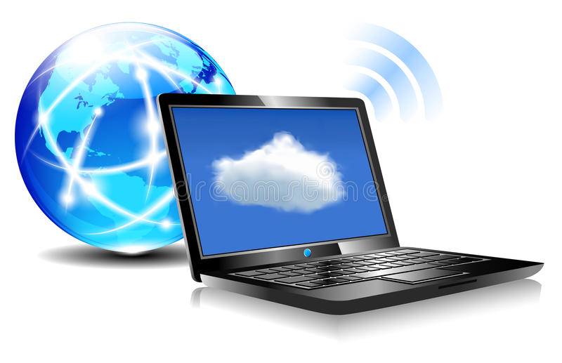 Download Laptop Cloud Connection stock vector. Illustration of computer - 33852617