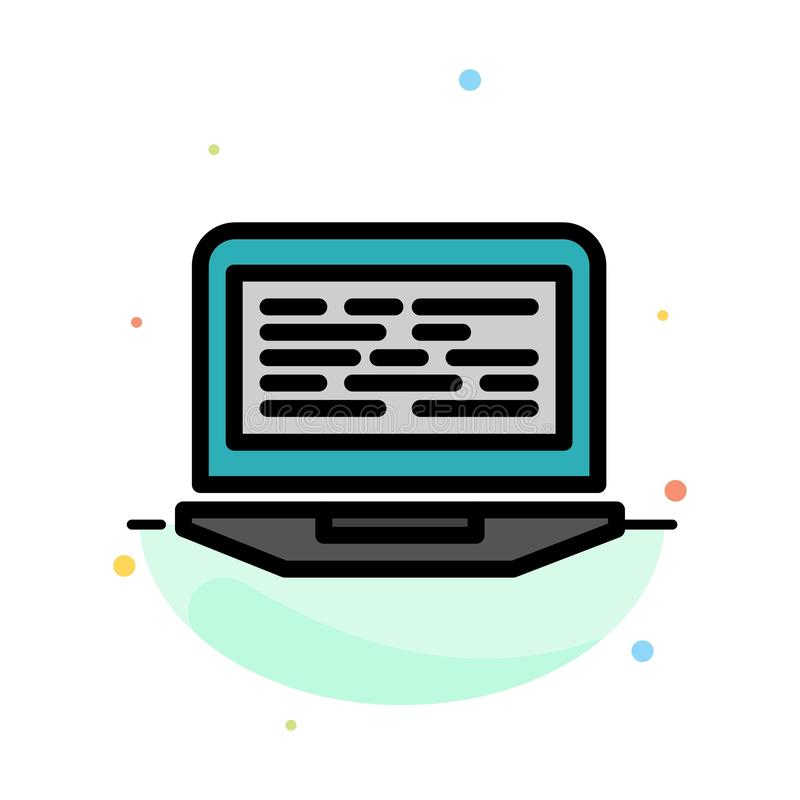 Laptop, Coding, Code, Screen, Computer Abstract Flat Color Icon Template vector illustration