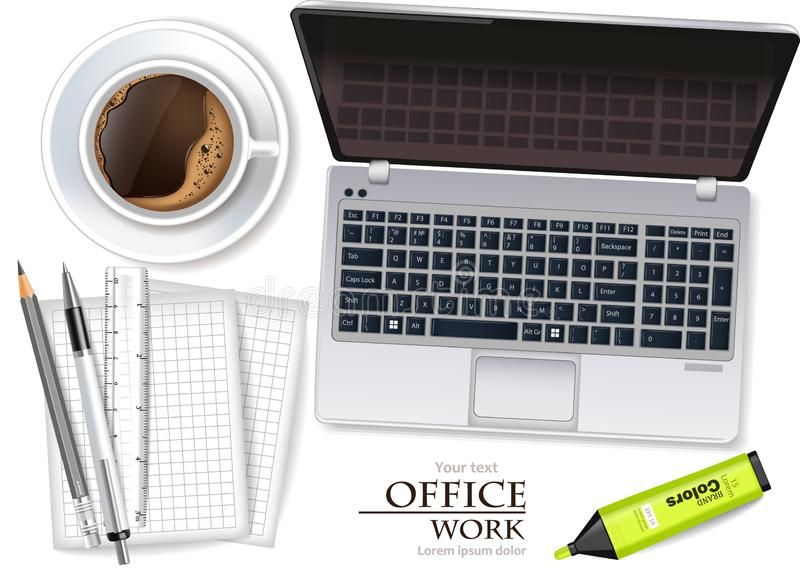 Laptop and coffee cup Vector realistic. Product placement mock up. Office supplies 3d illustrations royalty free illustration