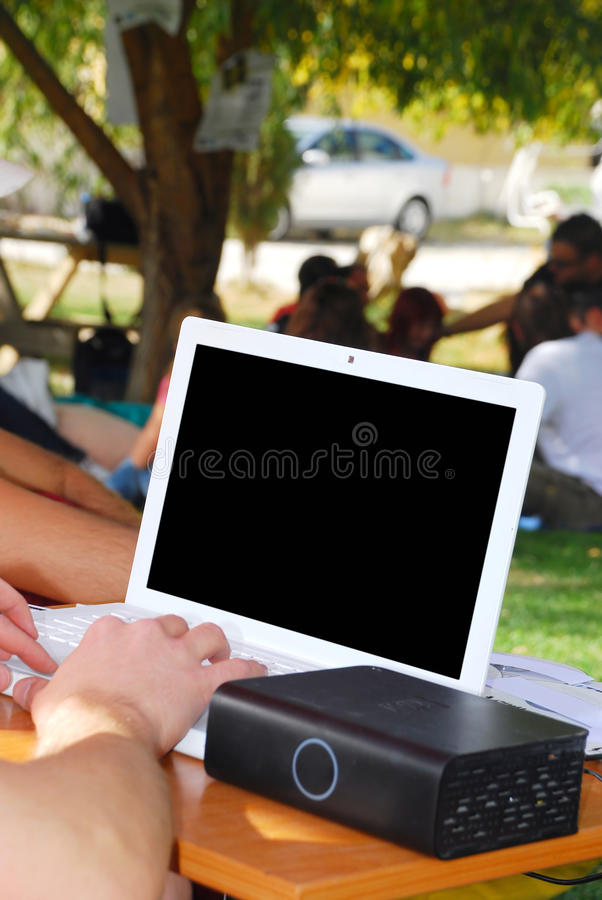 Laptop In College Royalty Free Stock Images