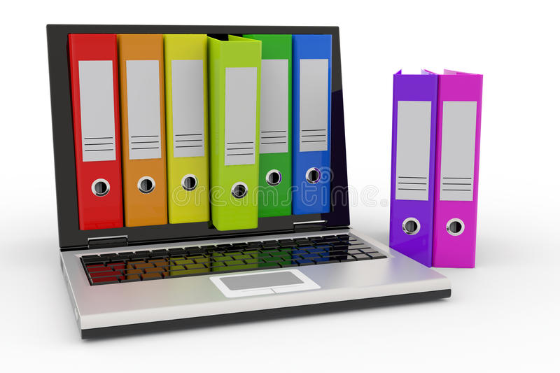 Download Laptop And Colorful Archive Folders. Stock Illustration - Illustration: 19599687