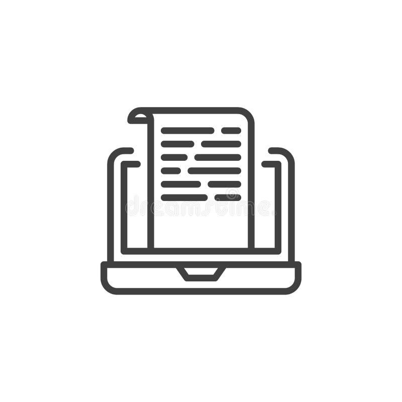 Laptop com ícone de linha de documento ilustração stock