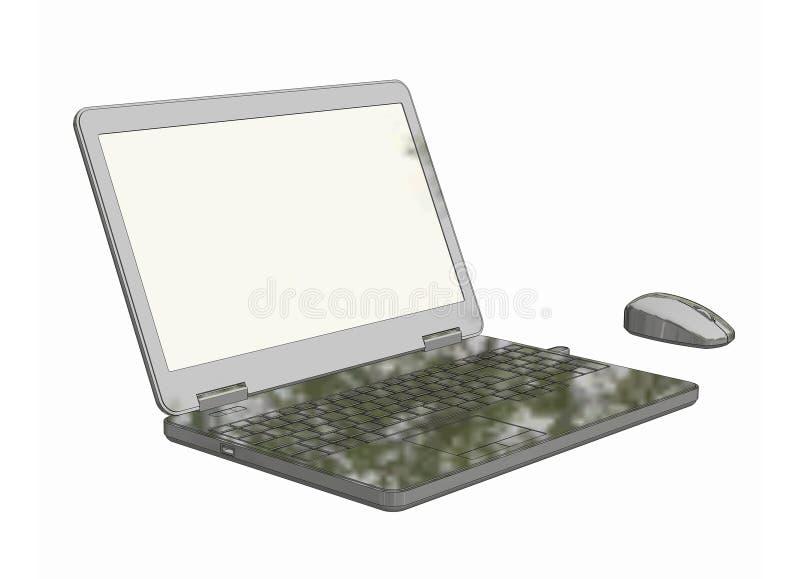 Laptop com imagem sem corda do rato 3D com fundo branco, fotografia de stock