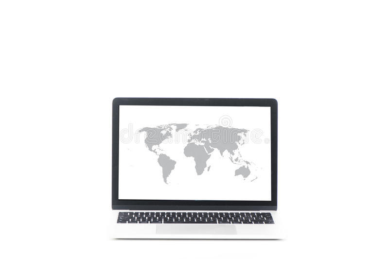 Laptop com o mapa do mundo na tela foto de stock royalty free