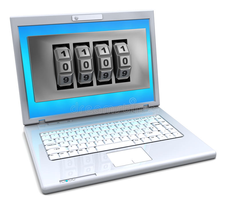Download Laptop With Combination Lock Stock Illustration - Image: 15011664