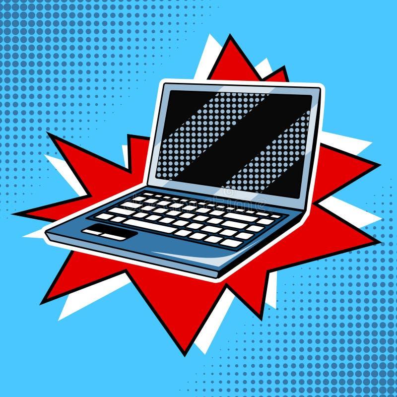 Laptop comic book style vector stock illustration