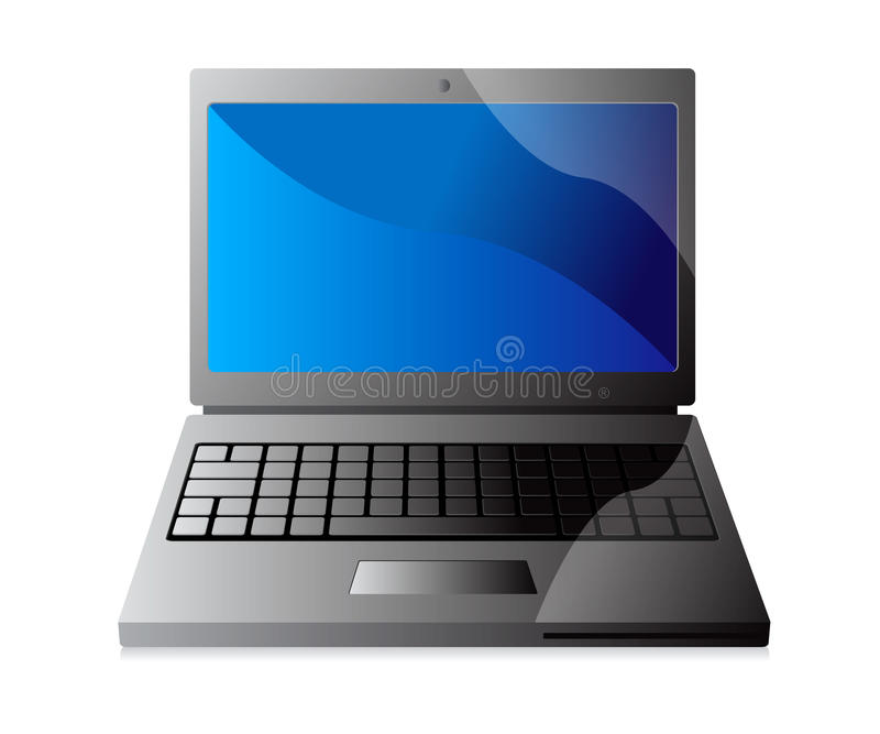 Laptop Computer. An illustration of a laptop computer showing the screen, keyboard and touch pad. Drawn in Adobe Illustrator. The image shows gradients of black royalty free illustration