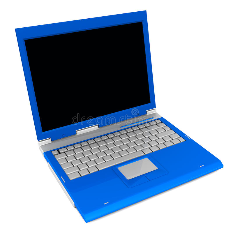 Laptop computer. In blue color on white background space vector illustration