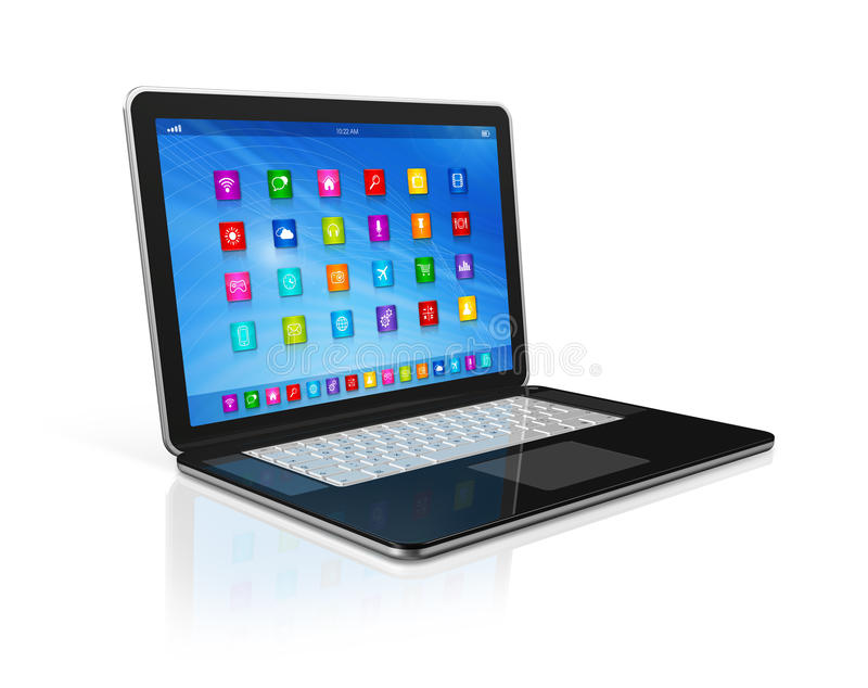 Laptop Computer - apps icons interface. 3D Laptop Computer - apps icons interface - isolated on white with clipping path royalty free illustration