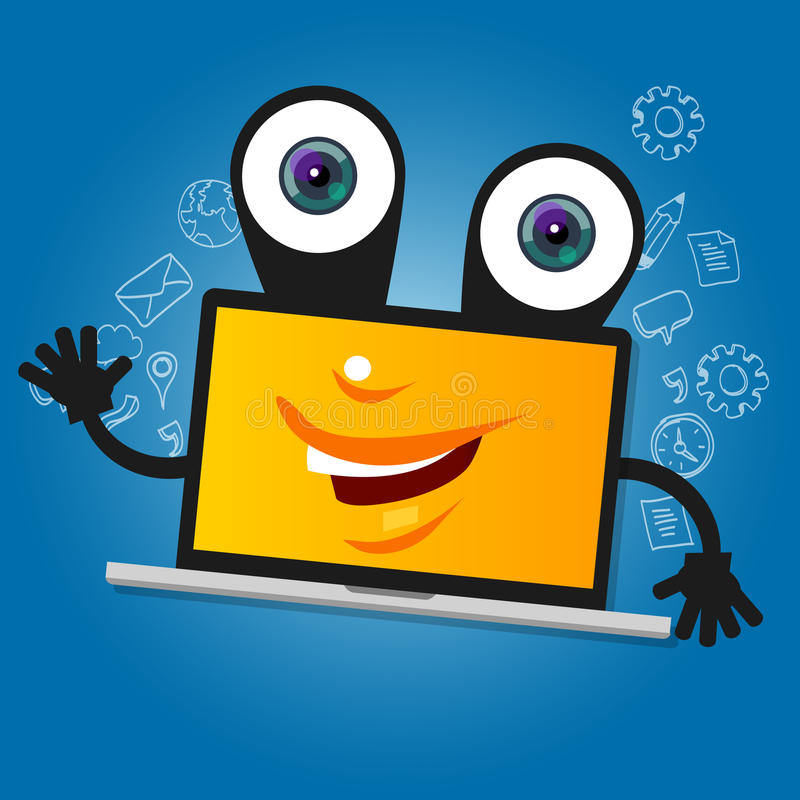 Laptop computer big eyes character cartoon smile with hands yellow mascot face happy stock illustration