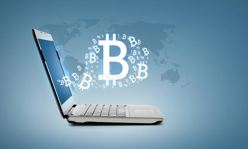 Laptop computer with bitcoin royalty free stock photos