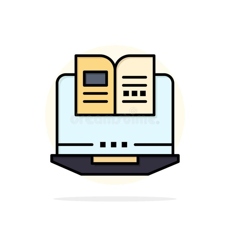 Laptop, Computer, Book, Hardware Abstract Circle Background Flat color Icon stock illustration